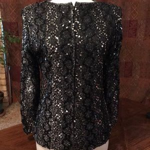 Lightweight black zip up blouse with sequins